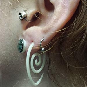 Bone oval spirals 12g  (pair)