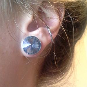 "Screw fit rivoli gem plug 7/16""  Black diamond"