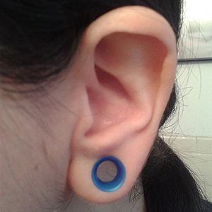 "Silicone earskin (Cobalt pearl)  0g 5/16"" wearable"