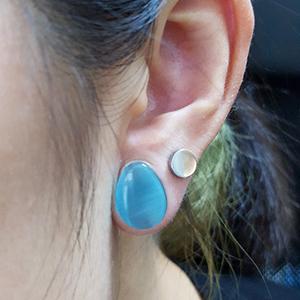 "Blue cat eye teardrop plugs 1/2""  12.5mm (pair)"
