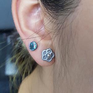 Silicone flower o-ring 10g  Metallic silver -- Photo # 70528