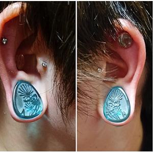 "Glass dandelion teardrop plugs (Turquoise) 3/4""  (pair)"