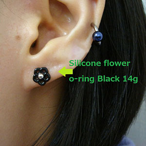 Silicone flower o-ring 14g  Black