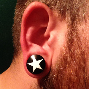 "Black horn plugs with star inlay (White) 3/4""  (pair)"