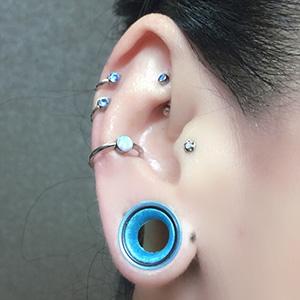 "Silicone earskin (Sea blue pearl) 00g/9mm  (1/4"" wearable)"