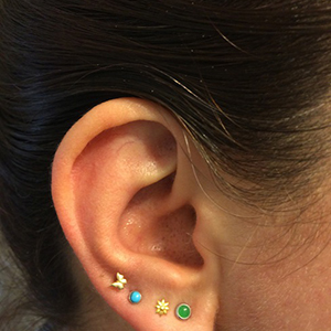 """Butterfly tragus or cartilage barbell 16g 1/4"""""""