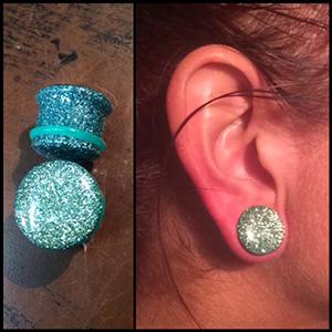 "Single flare solid glitter plug 5/8""  turquoise"