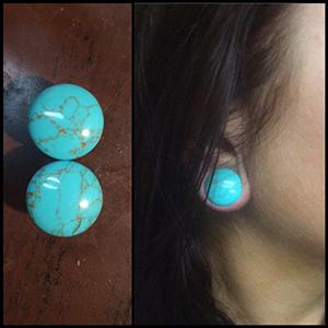 "Synthetic turquoise stone plug 5/8"""