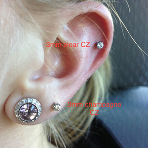 PRE-ORDER Titanium threadless prong-set faceted gem end 18g  3mm gem