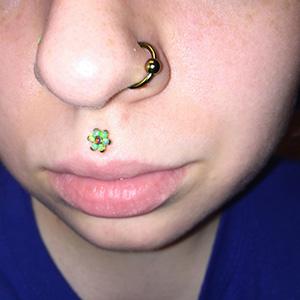 "Titanium captive bead ring 16g 3/8"" Yellow -- Photo # 64116"