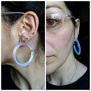 Opalite medium hoops 2g  (pair)