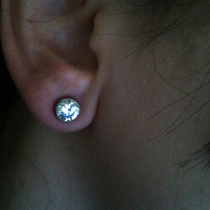 Single flare steel solid gem plug 6g  (Clear CZ gem)