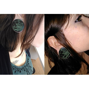 "Green eye jasper stone plug 1-1/2"""