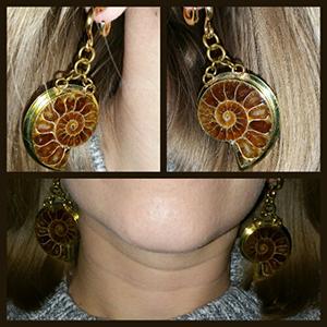 Solid brass and ammonite dangles 8g  Medium (pair)