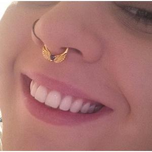 "Color-coated winged gem septum clicker 14g 5/16"" Gold with black CZ"