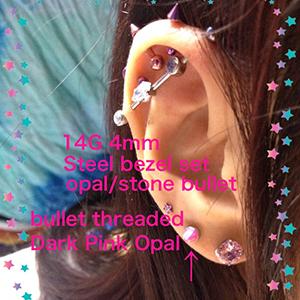 PRE-ORDER Steel bezel set opal/stone bullet threaded end 14g  4mm opal/stone