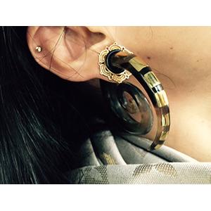 Black horn super spirals with brass inlays 00g/9.5mm  (pair)