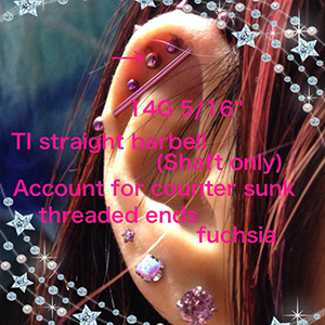PRE-ORDER Titanium straight barbell (Shaft only) 14g  Account for counter sunk threaded ends