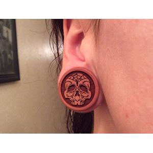 "Pink ivory wood sugar skull plugs 1""  (pair)"