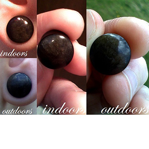 "Golden obsidian stone plugs 7/16""  (pair)"
