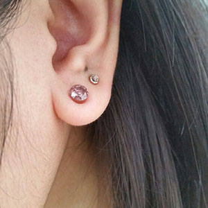 Double flare solid CZ plug 6g  Pink