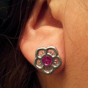 Silicone flower o-ring 6g  Metallic silver