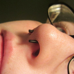 Black-coat staple shaped septum retainer 12g